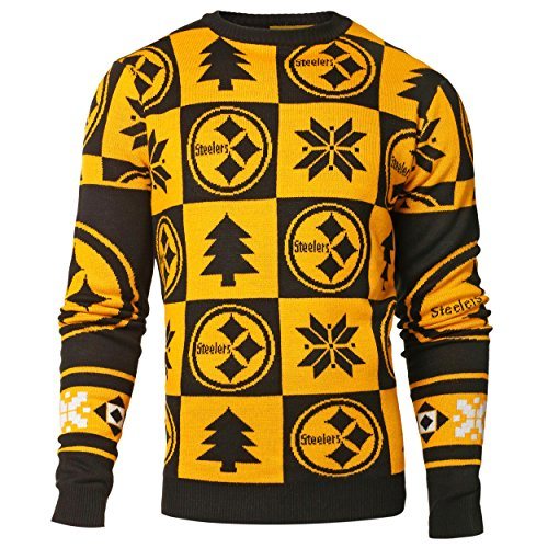 Pittsburgh Steelers NFL 2016 Patches Ugly Crewneck Sweater (XL) (Steelers Super Bowl Patches compare prices)