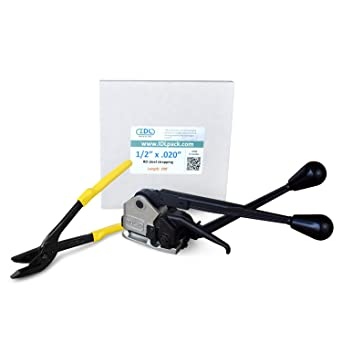 Break Strength 1400 lbs IDL Packaging PRO 5//8 x 200 ft Steel Strapping Kit Include Consumables for up to 100 Strapping Cycles