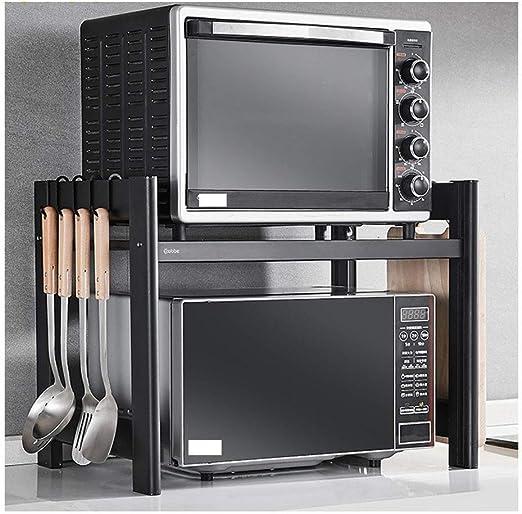 Estante de almacenamiento de la cocina Estantería de uso general Aleación de aluminio de 2 niveles Soporte para horno de microondas Cuarto de baño Rack de almacenamiento de encimera-57.5x42x45.3cm: Amazon.es: Hogar