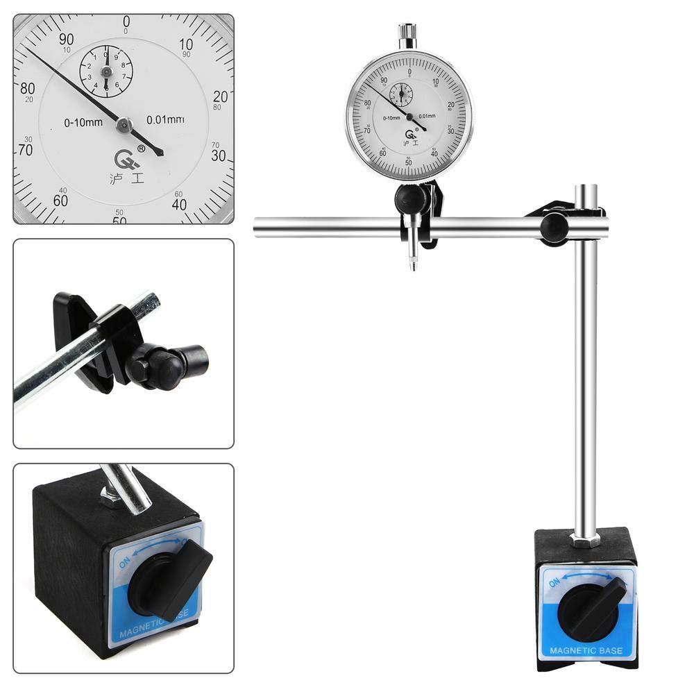 Base Magn/étique Bipolaire JueYan Outils /à Pompe Diesel,Pompe /à Injection Moteur Outil de R/églage 0-10mm Indicateur de Test de Num/érotation Test Indicateur /à Cadran Jauge DTI
