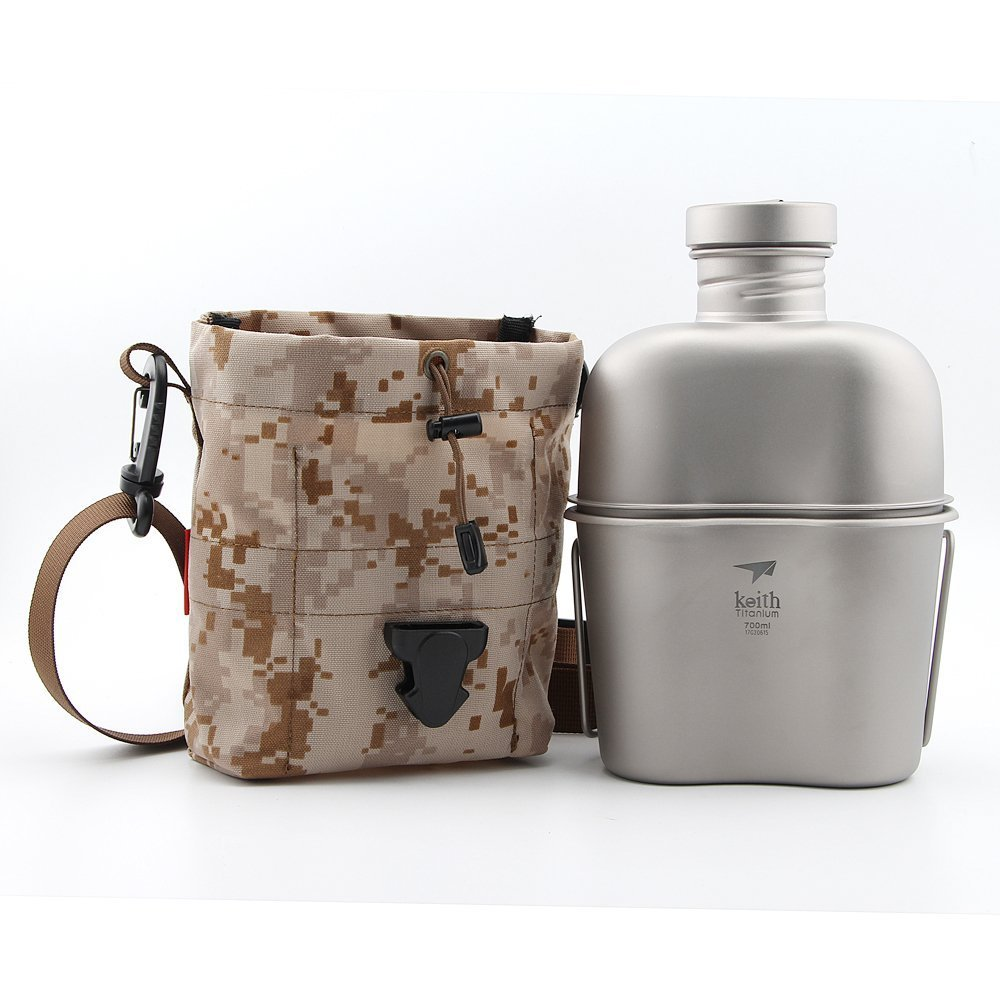 Keith 1100ml+700ml Titanium Army Canteen with Cup Outdoor Dual-use Water Bottle Camping Kettle with Carry Bag