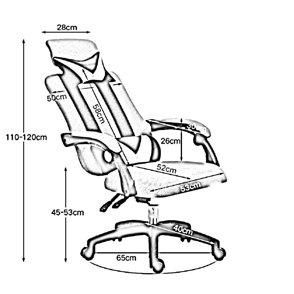 Dalovy bekväm vilande ergonomisk stol, hög rygg kontorsstol skrivbordsstol inbyggd latexkudde justerbar höjd med nackstöd och ryggstöd Svart