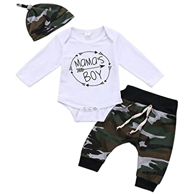 b3598f148b79 Baby Boys Girls Mama s Boy and Daddy s Princess Long Sleeve Romper  Camouflage Pants Hat Headband 3pcs