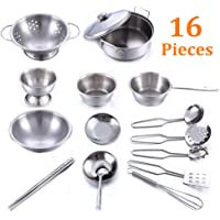 16 Pieces Play Kitchen Pans and Pots Metal Set, Kids Role Pretend Utensils Play Let's Play House Cookware Accessories, Safe Durable Smooth Stainless Steel Playing Kitchen Roleplay Toys