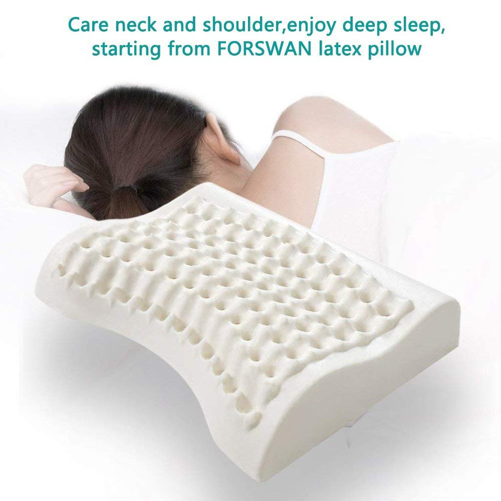 f71363ed896 Amazon.com  XHHWZB Bed Pillow-Natural Soft Latex Pillow for Sleeping  Covers-Side Sleeper Low and Ergonomic Massage Neck Support Massage  Particles Travel ...