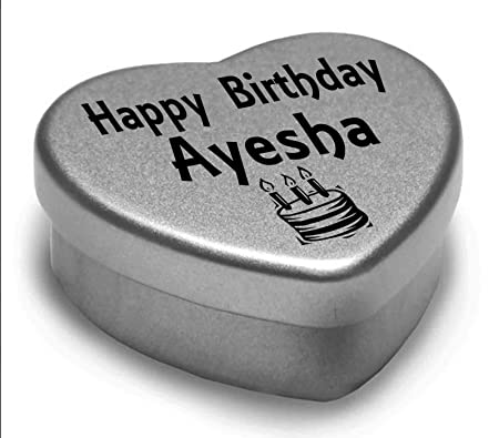Happy Birthday Ayesha Mini Heart Tin Gift Present For Ayesha With