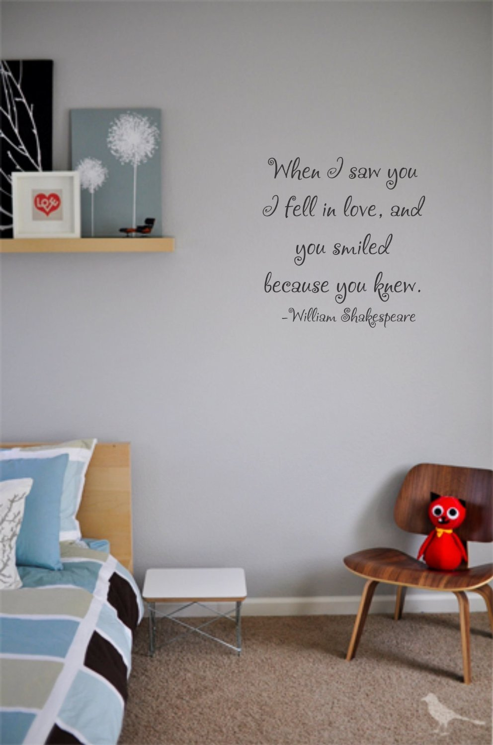 Amazon 1 x when i saw you i fell in love and you smiled william shakespeare vinyl wall art inspirational quotes and saying home decor decal sticker home kitchen amipublicfo Images