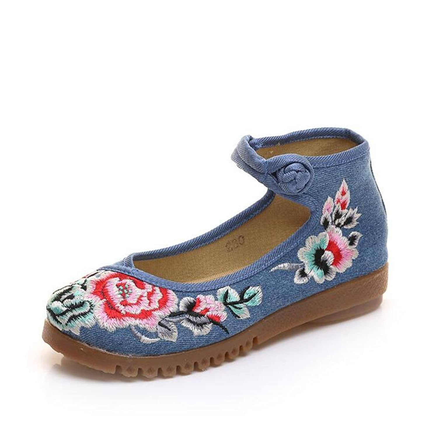 ZYZF Women's Peony Embroidery Rubber Sole Ankle Belt Mary Jane Shoes