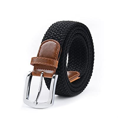 Unisex Elastic Fabric Woven Stretch Leather Inlay Solid Canvas Web Belt