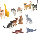 Plastic Model Cat Figures Kids Toy Set of 12pcs Multi-color
