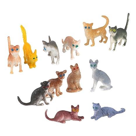 12pcs Plásticas Figuras Modelos Gatos Pequeños para Niños