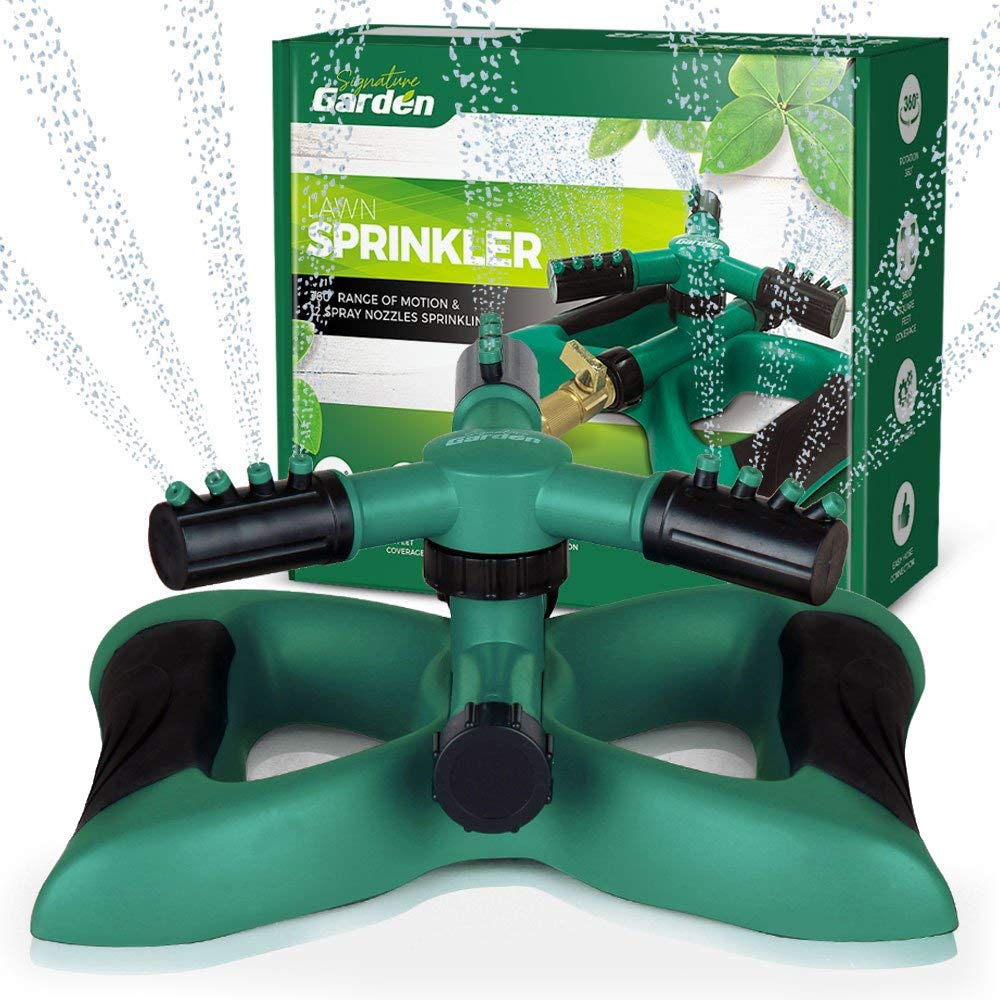Signature Garden Lawn Degree Rotation, Connect Multiple Large C Three Arm Sprinkler, 12 Built-in Spray Nozzles, 360 D