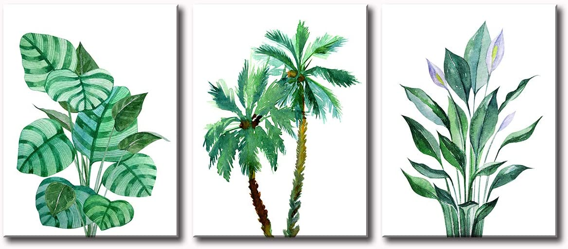 JiazuGo - Palm Tree Minimalist Wall Art Banana Leaf Green Leave Tropical Monstera Plant Flower Watercolor Painting 3 Pieces Bathroom Livingroom Prints on Canvas Stretched and Framed Ready to Hang