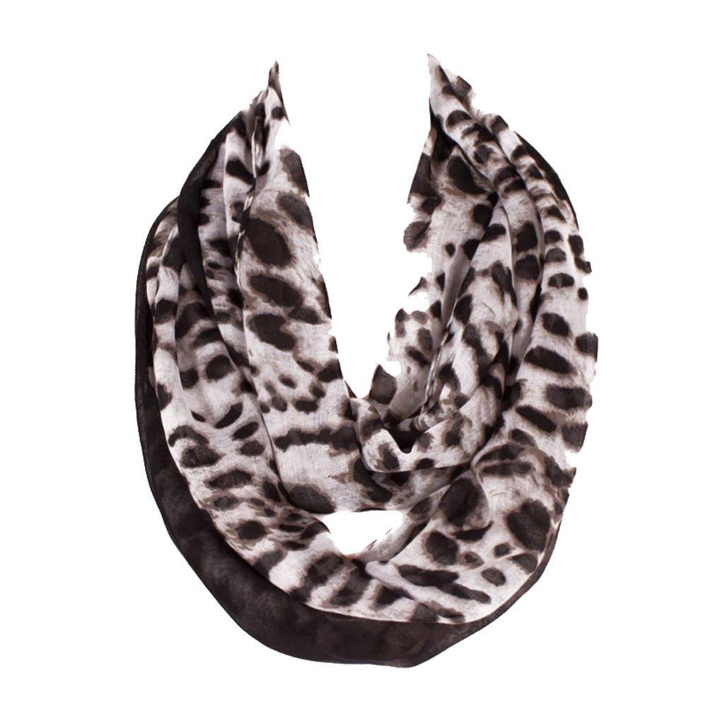 Tenchif Women Lightweight Infinity Loop Leopard Scarf