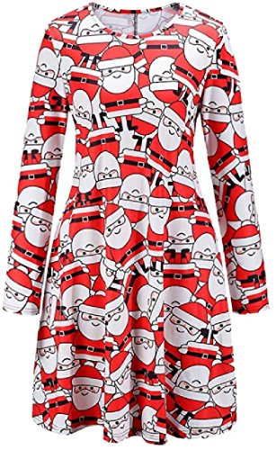 A Womens Milu Pattern7 Snowman Party Christmas Comfy Claus Dress Santa Line 7wqdAp0O
