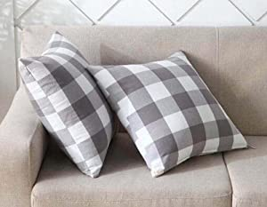 Set of 2 Gray and White Buffalo Check Plaids Soft Comfortable Cotton Throw Pillow Case Cushion Cover for Sofa 18 X 18 Inches Both Sides Print (Set of 2 Gray)