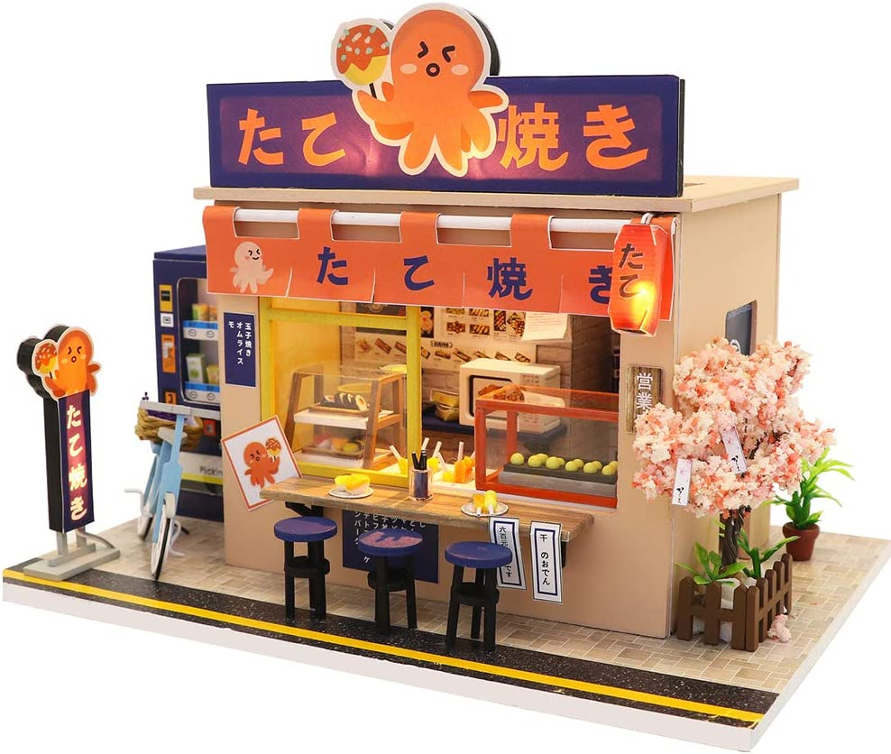 Dollhouse Miniature with Furniture, DIY Wooden Doll House Kit Japanese-Style Plus Dust Cover and Music Movement , 1:24 Scale Creative Room Idea Best Gift for Children Friend Lover(Star Takoyaki)