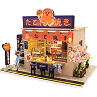 Dollhouse Miniature with Furniture, DIY Wooden Doll House Kit Japanese-Style Plus Dust Cover and LED, 1:24 Scale…