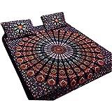 Bohemian Peacock Paisley Print Cotton Bedspread Bedding 3 Pcs Set King Size