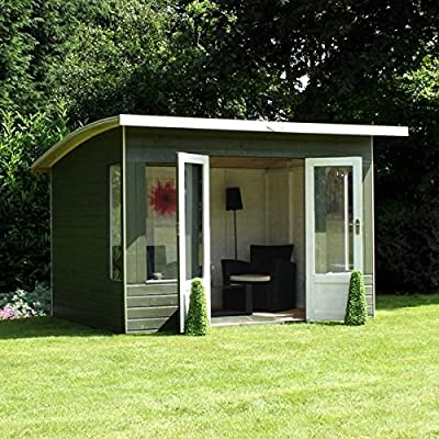 Painted summerhouse at the back of a lwaned garden