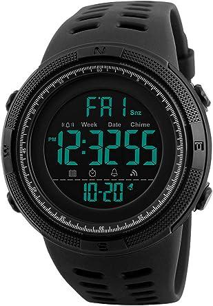 Reloj Digital para Hombre - 50M impermeable Deportivo Relojes de pulsera Prueba para Hombre, Reloj Militar Negro LED con Alarma/cuenta regresiva/Cronómetro / 12/24H para Hombre: Amazon.es: Relojes