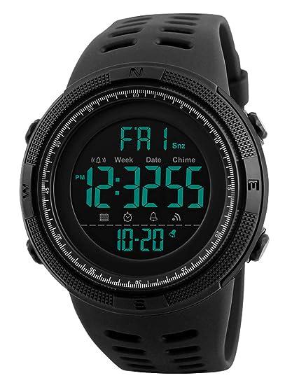 68025fbfc9af Reloj Digital para Hombre - 50M impermeable Deportivo Relojes de pulsera  Prueba para Hombre