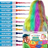 HAIR CHALK GIRLS – & BOYS, 12 Temporary Hair Colour Kids, Vibrant & Washable Hair Dye Pens, Works on Dark Blond Hair, Set, Girls Hair Accessories Toy Crayons