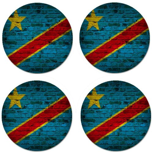 Congo Kinshasa Flag Brick Wall Design Round Coasters - Set of 4