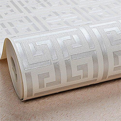 Smakke Gold Greek Key Pattern White Wallpaper Modern Geometric Metallic Vinyl Wall Paper Roll Teal White/Black White/Silver White E00405 Silver White 5.3