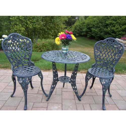 Oakland Living Tea Rose Cast Aluminum 3-Piece Bistro Set, Verdi Grey