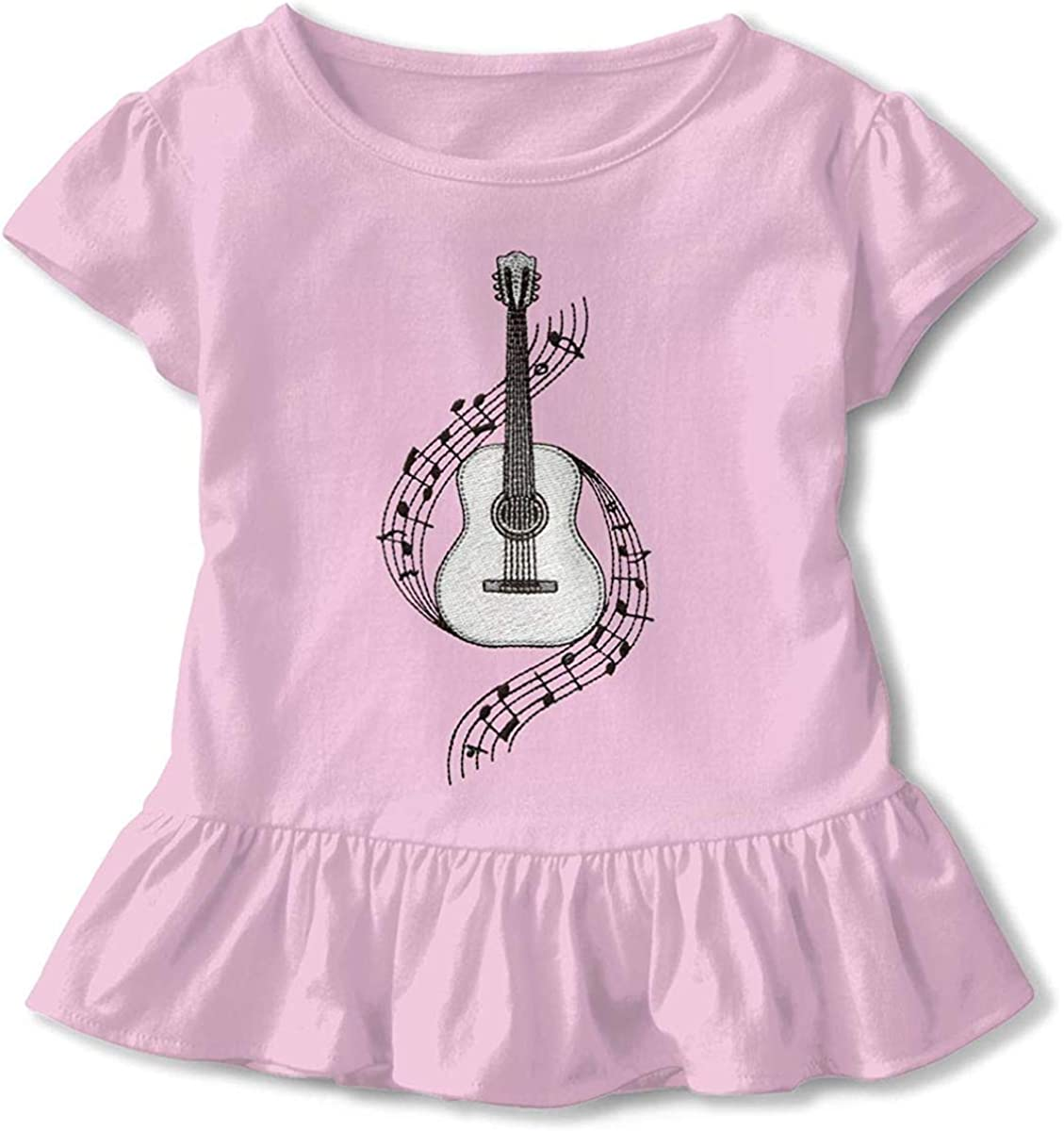 Guitar Music Retro 2-6 Years Old Child Girls Casual Short Sleeve T-Shirts Pink
