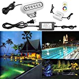 1pc QACA RGB LED Underwater Lights with Remote Control 304 Stainless Steel, Surface Mount, DC 12V, Waterproof IP68 for Aquarium, Pond, Swimming Pool Decoration on Party, Wedding, Christmas, Halloween