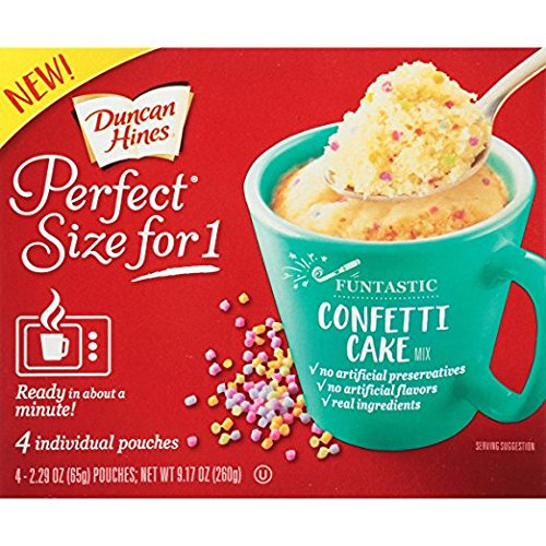 2 box pack - Duncan Hines Confetti Cake, Perfect Size for 1 Mug Cake Mix, 4 individual pouches each box