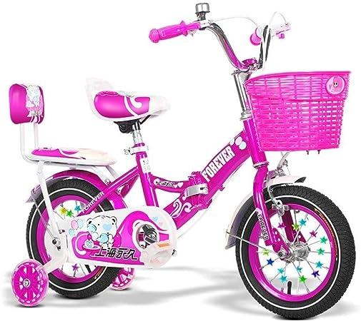 Bicicletas niños 2-8 años de Edad Plegable Carro Deportivo al Aire Libre Multifuncional de niña niño (Color : Pink, Size : 12in): Amazon.es: Hogar