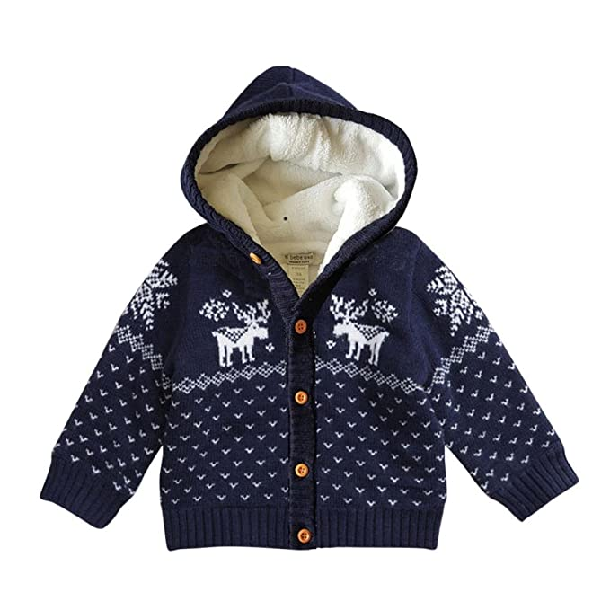 Lisin Toddler Unisex Baby Deer Christmas Cardigan Sweater Button-up Cotton  Coat (Dark Blue 04938759e