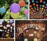 Round Paper Lantern Lamps: 8-Pack - 12' Round Multi-Colored Lanterns | 16-Pack Premium White Mini-LED Lights | Perfect for Indoor & Outdoor Parties, Events, & Ambiance