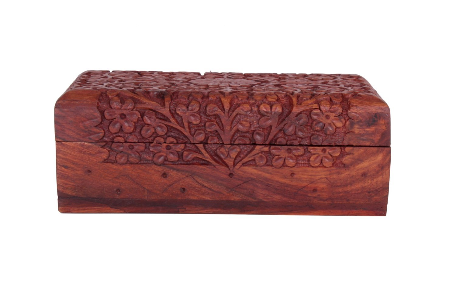 Exotic Rosewood Jewelry Box Organizer with Intricate Hand Chiseled Floral Patterns, 7 x 5 x 2.5 Inches