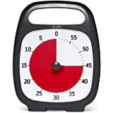 """PLUS 60 Minute Visual Analogue Timer; Optional Alert (Volume-Control Dial); Silent Operation (No Ticking); 5.5"""" wide x 7"""" tall; Time Management Tool; Charcoal"""