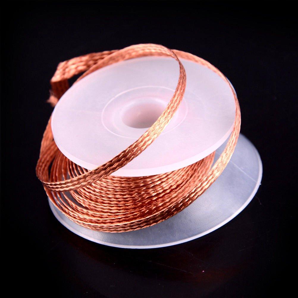 1.5/2/2.5/3mmx1.50m Bobine de tresse à dessouder antistatique, souder soudure soudage rouleau bobine, pour nettoyer résidus de i'etain (3mm x 1.5m)