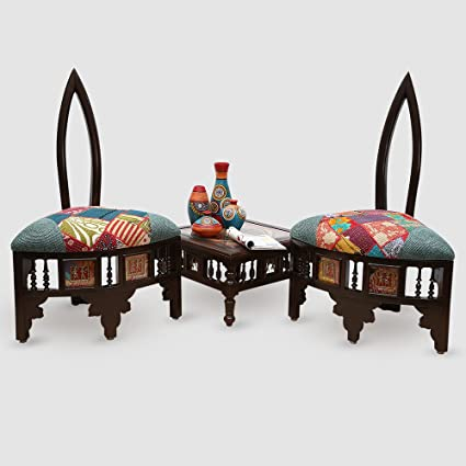 ExclusiveLane Teak Wood Modern Low Rise Living Room Cum Lobby Chair & Table Set With Dhokra & Patch Work -wooden chair sofa chair for home living room rest chair Dining Set Wooden Dining Table Chair Set For Living Room Hall Table Chair Set Coffee Table Chair Set For Garden