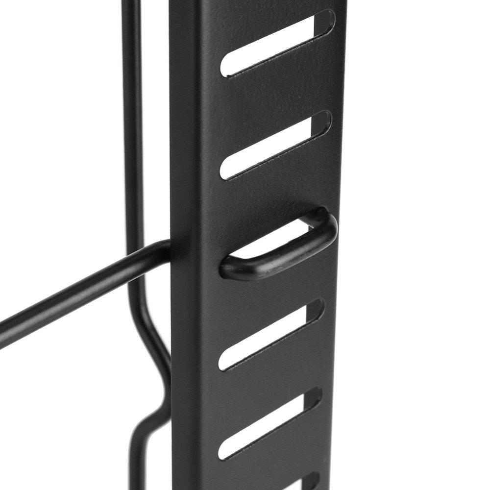 Kitchen Pot and Pan Organizer Rack Adjustable Lid Rack Cookware Holder Heavy Duty Cabinet Pantry Kitchenware Cupboard Bakeware Plate Holder (black)