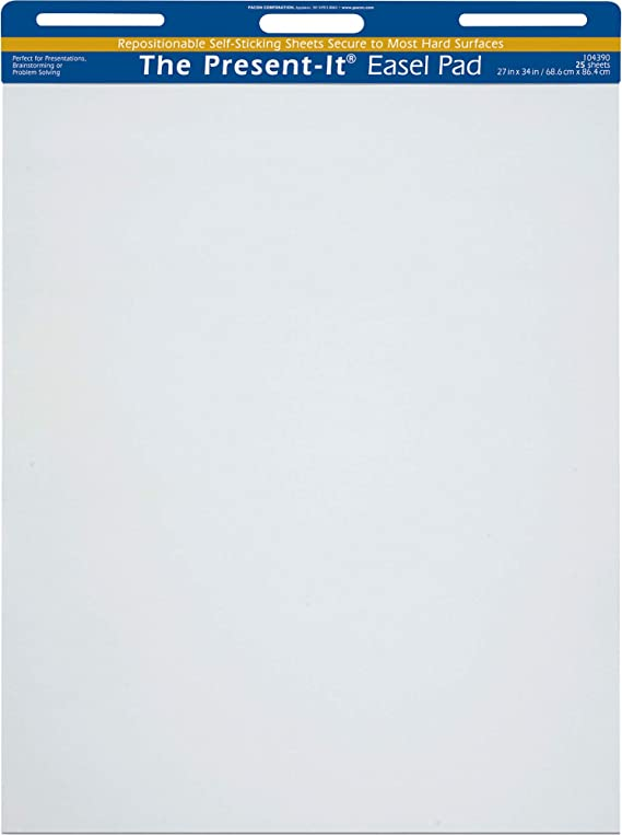 Pack of 4 Fоur Paсk 50 Sheets 34 x 27 in White School Smart Unruled Easel Pads