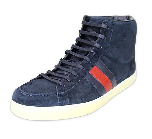 Gucci Marina de guerra ante cuero Brb Web detalle Hightop Sneakers 337221 (12.5 U.S. /