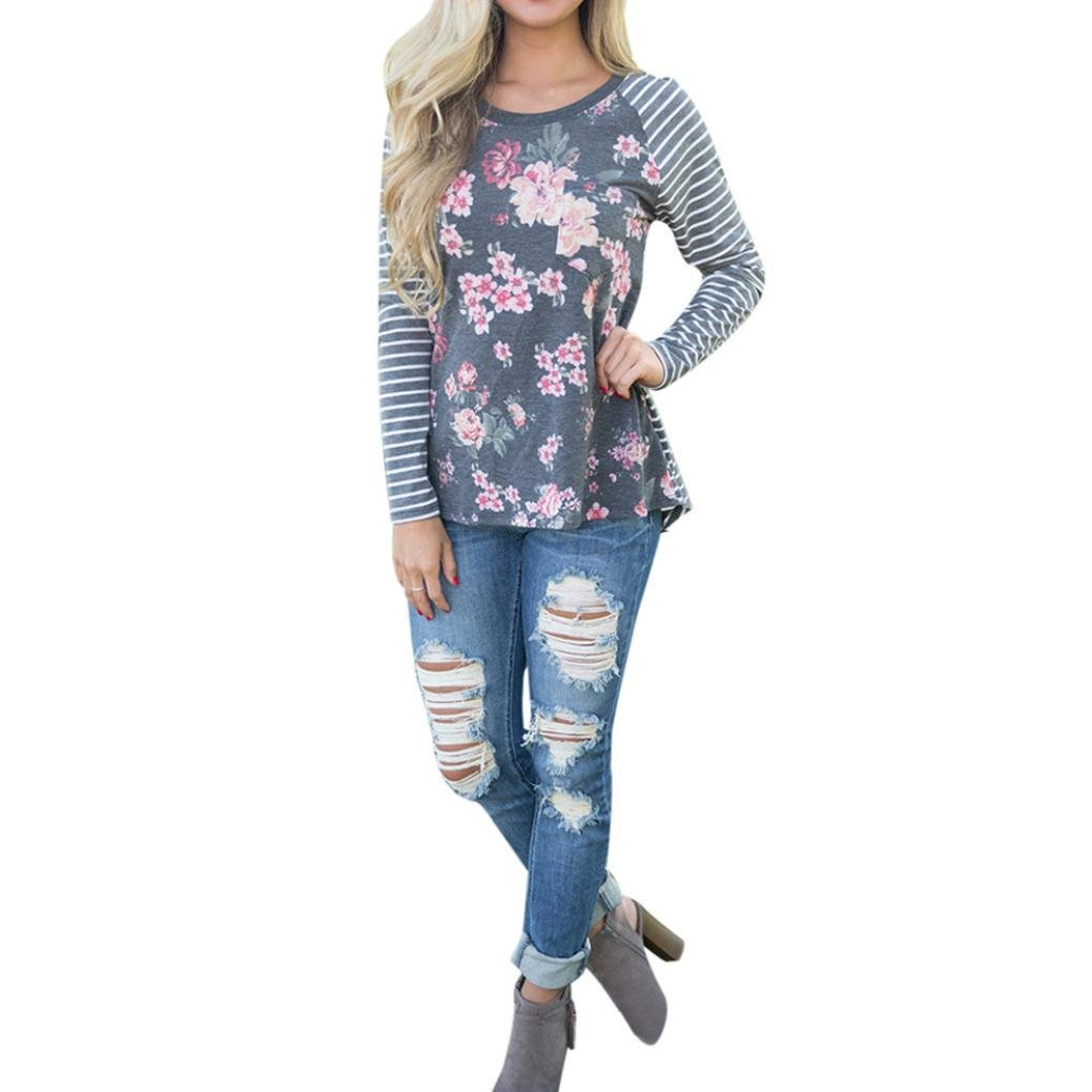 Fulltime(TM) Womens Casual Long Sleeve Floral Print Striped Blouses YLL70821526