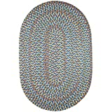 Super Area Rugs Confetti Braided Rug Traditional Rug Textured Durable Blue Casual Decor Carpet, 2' X 3' Oval