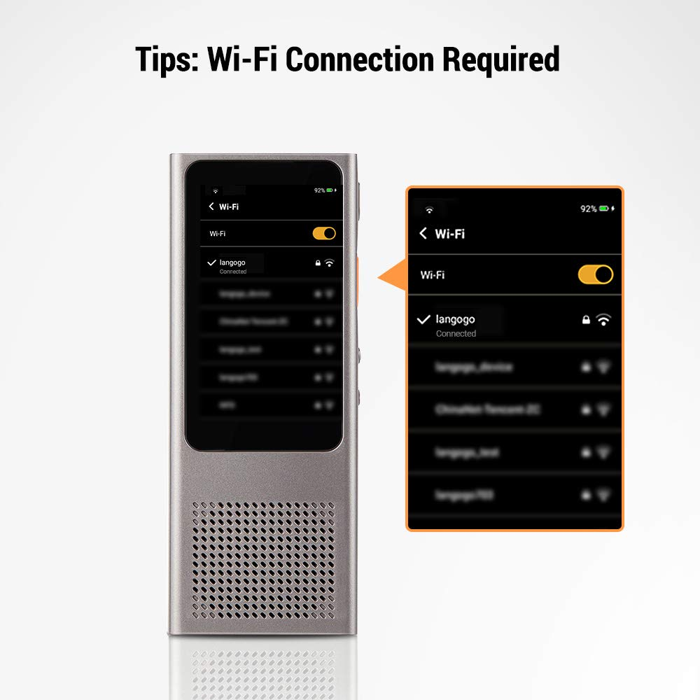 Exportable Transcription Content Langogo Minutes Instant Two-Way WiFi Voice Translator Speech-to-Text Transcribing Recorder Grey 100+ Languages