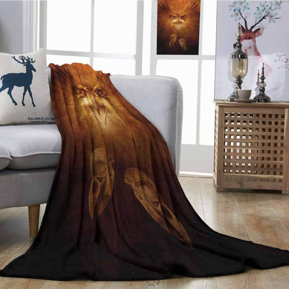 SONGDAYONE Super Soft Blankets Hawk Eagle Bird Face and Claws with Feathers Wings in Fire Like Background Art Print All Season for Couch or Bed W60 xL80 Brown