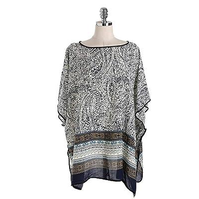 EXCLVEA-CUS Señoras Playa Encubrir Señoras Beach Cover Up Vintage anacardo Estampado de Flores Camisa de Gasa Femenina Camisa Blusa Transpirable y Fresco (Color : Negro, tamaño : 95x65cm): Hogar