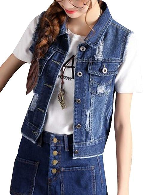 858f1bc044 Yiqi Donna Giacca di Jeans Leisure Risvolto Denim Senza Maniche ...