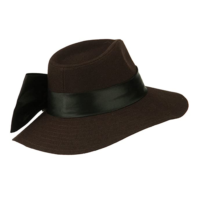 619348543bb Wide Brim Dressy Hat with Flower Decoration - Brown OSFM at Amazon Women s  Clothing store